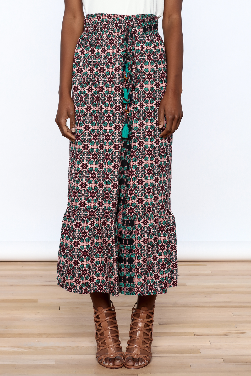 Raga Boho Print Midi Skirt - Side Cropped Image