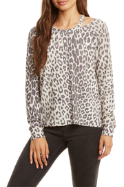 Chaser Raglan Animal Print Slit Neck Cozy Pullover - Product Mini Image