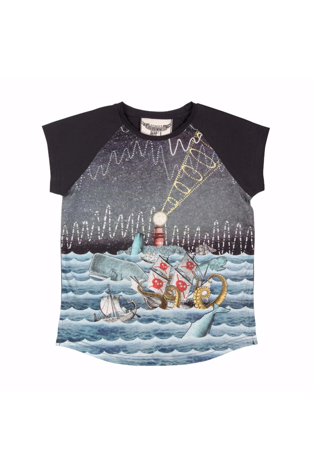 Paper Wings Raglan Rise and Shine Sea Monster Tee - Front Cropped Image