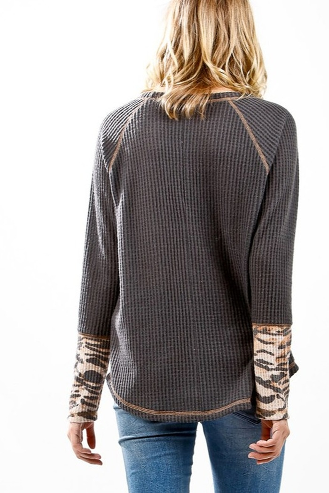 My Story Raglan Stitched Long Sleeve Waffle Top - Front Full Image