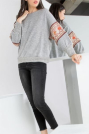 THML  Raglan Sweater with Embroidered sleeve detail - Product Mini Image