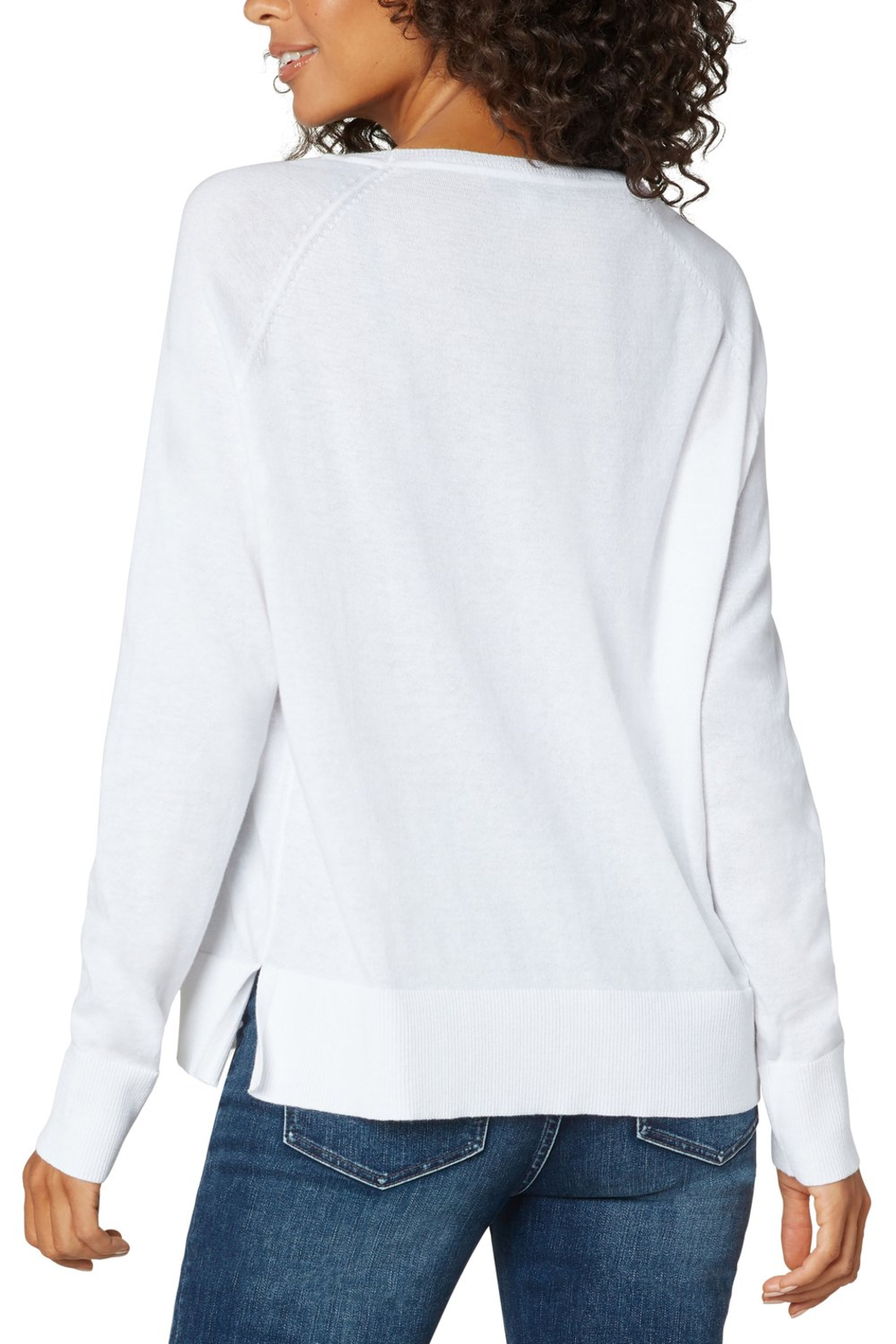 Liverpool  Raglan Sweater With Side Slit - Front Full Image