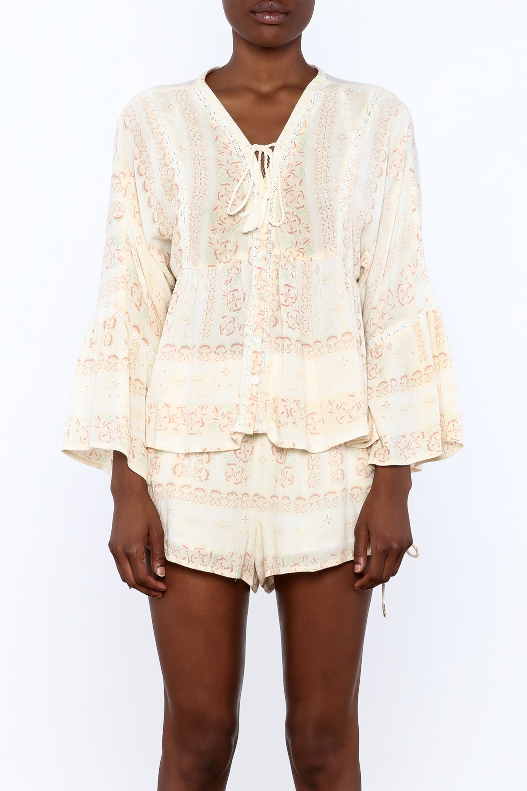 RahiCali Ivory Printed Peasant Blouse - Side Cropped Image