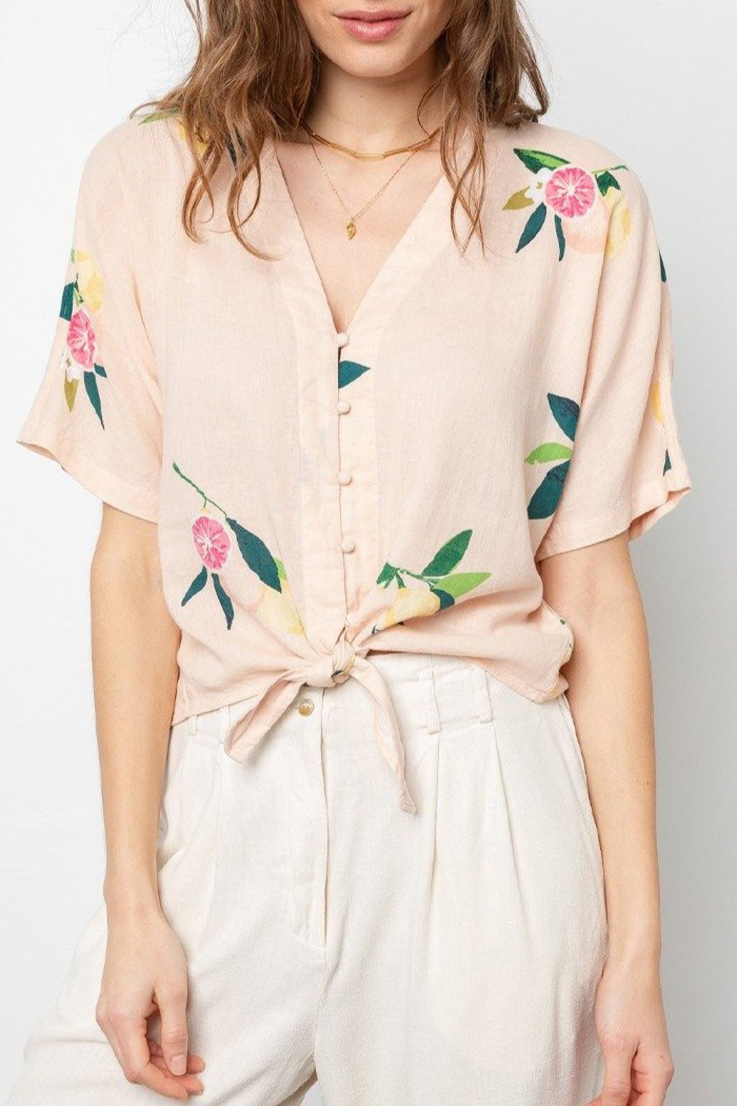 Rails Clothing RAILS TIE FRONT FLORAL TOP - Front Full Image