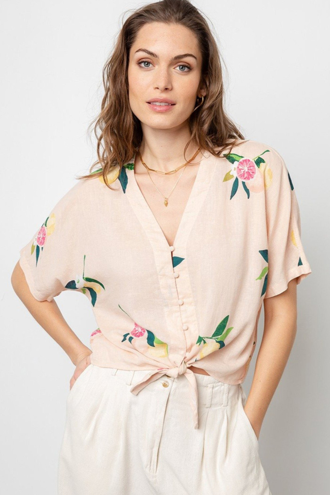 Rails Clothing RAILS TIE FRONT FLORAL TOP - Front Cropped Image