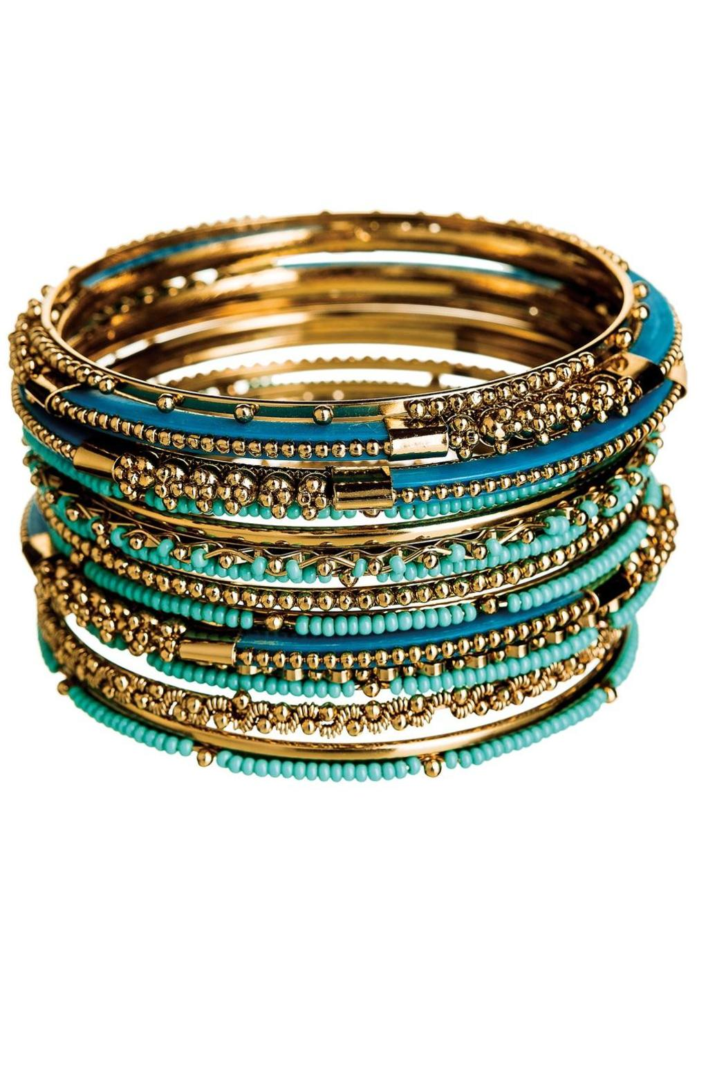 Rain Jewelry Gold Turquoise Bead Bracelet - Front Cropped Image