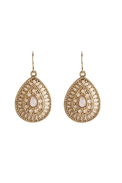 Shoptiques Product: Gold White Teardrop Earrings