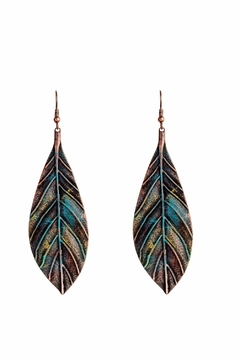 Shoptiques Product: Patina Leaf Earrings