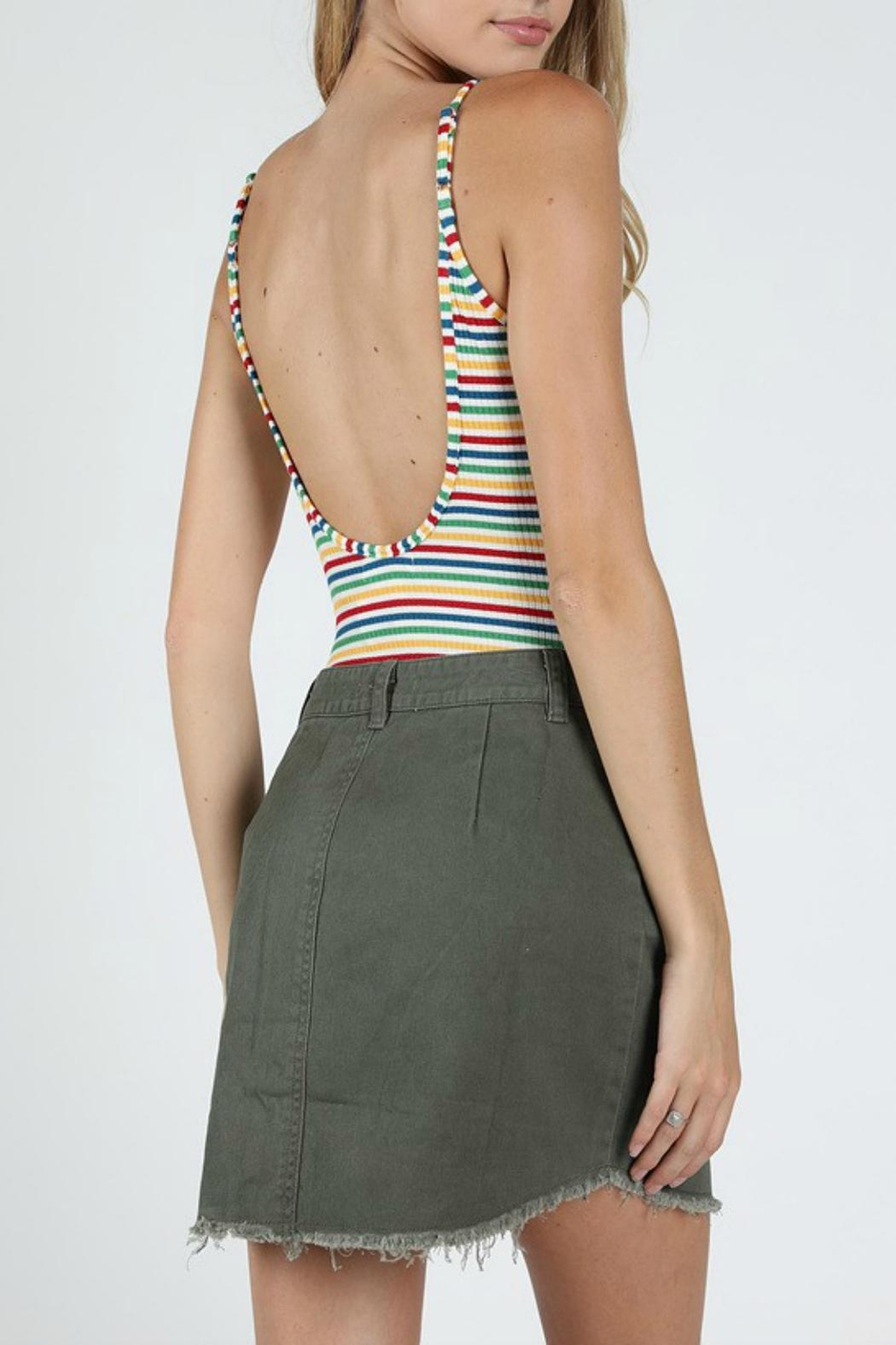 Pretty Little Things Rainbow Backless Bodysuit - Front Full Image