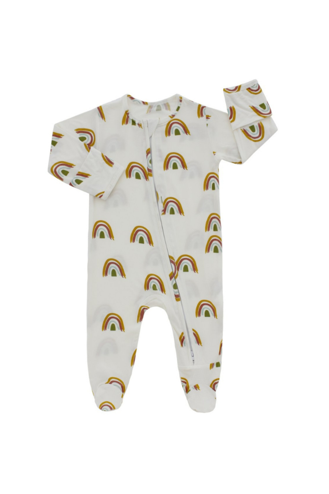 Emerson & Friends Rainbow Bamboo Baby Pajamas - Front Cropped Image