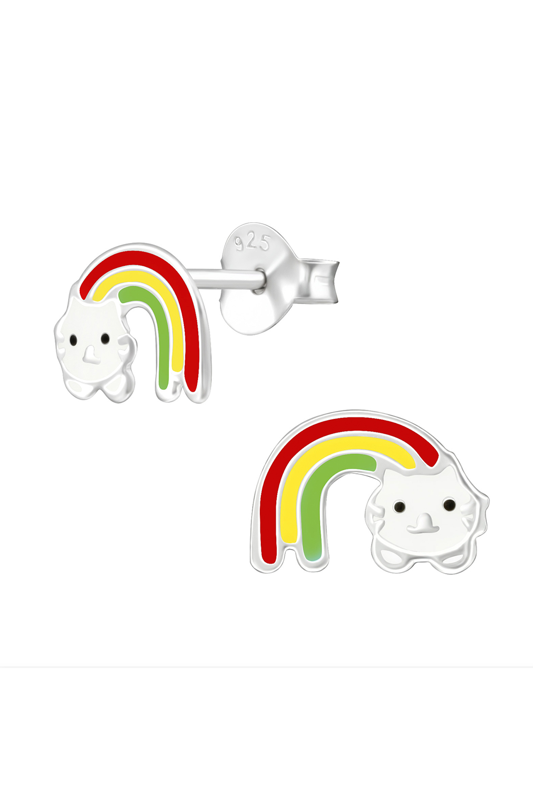 Silver Jewels Rainbow Cat Earrings - Front Cropped Image