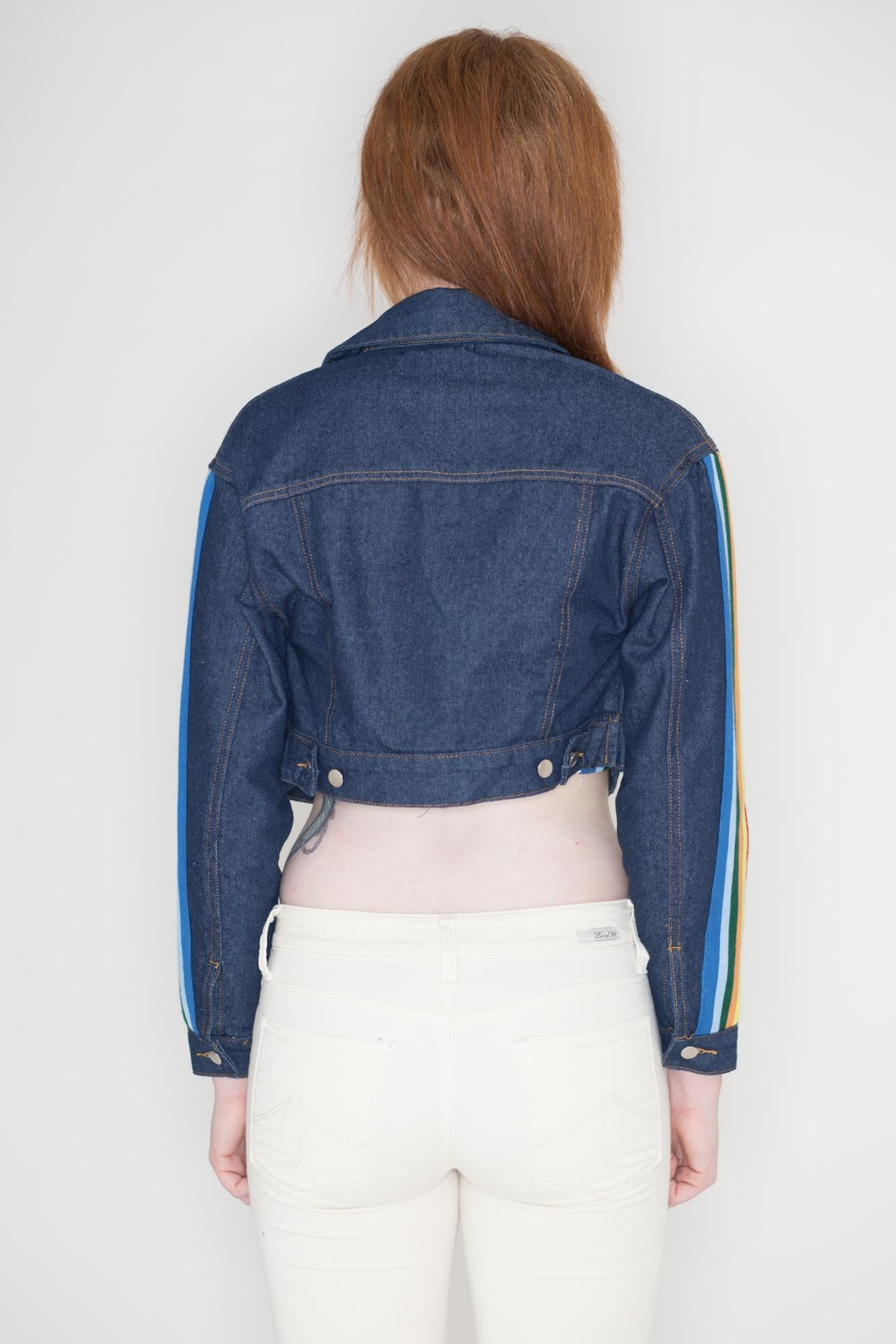 Honey Punch Rainbow Denim Jacket - Side Cropped Image