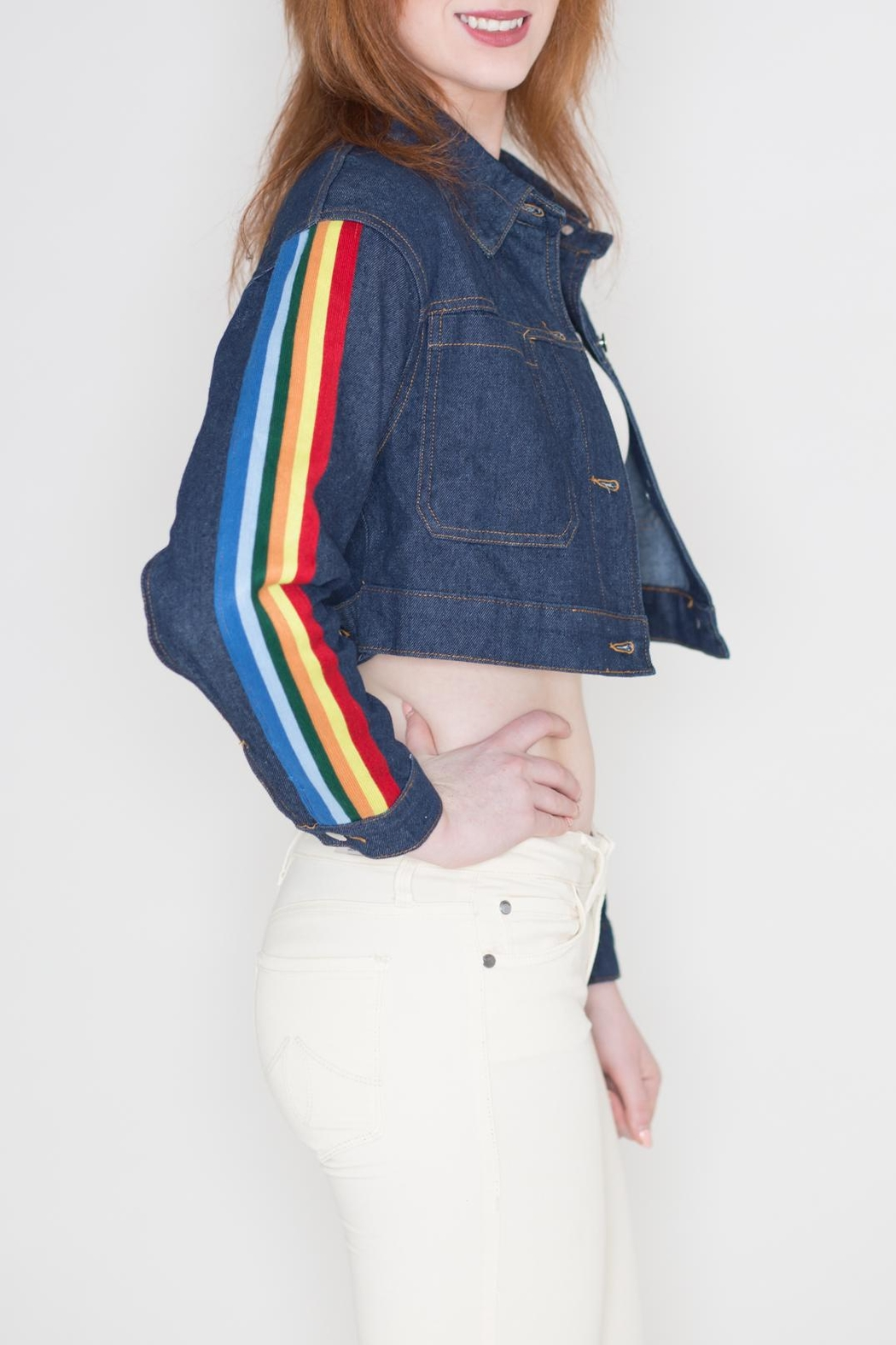 Honey Punch Rainbow Denim Jacket - Front Full Image