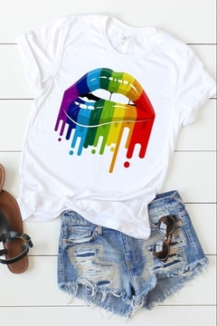 kissed Apparel Rainbow Drip Lip Tee - Alternate List Image