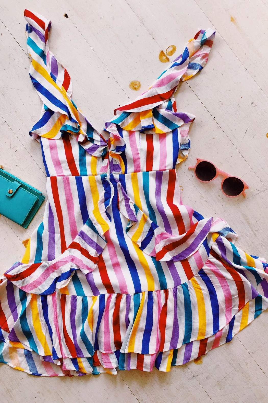 Signature 8 Rainbow Frill Dress - Front Cropped Image