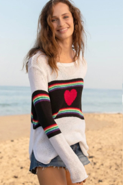 Wooden Ships Rainbow Heart Crew Sweater - Front full body