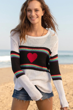Wooden Ships Rainbow Heart Crew Sweater - Product List Image