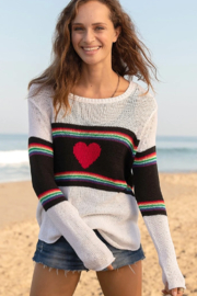 Wooden Ships Rainbow Heart Crew Sweater - Front cropped
