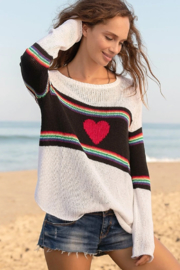 Wooden Ships Rainbow Heart Crew Sweater - Side cropped