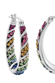 Freeship Wholesale - Faire Rainbow Hoop Crystal Earrings - Product Mini Image