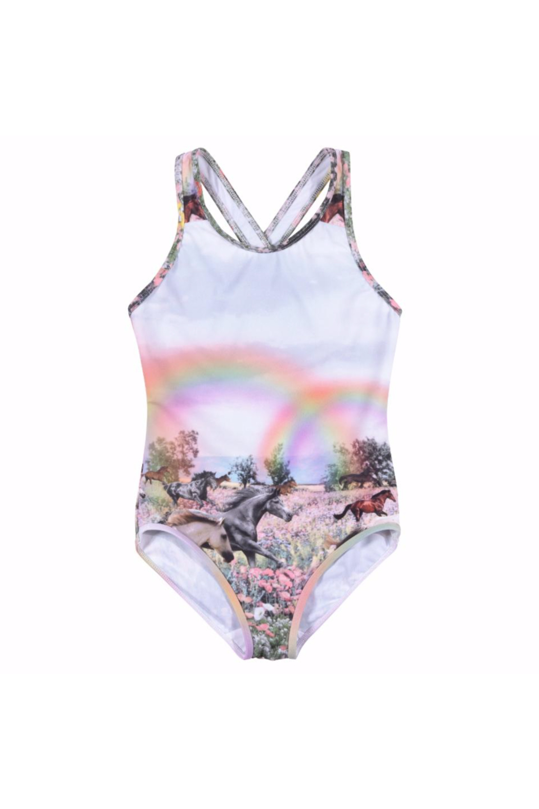Paper Wings Rainbow Horses One Piece Swimsuit - Main Image