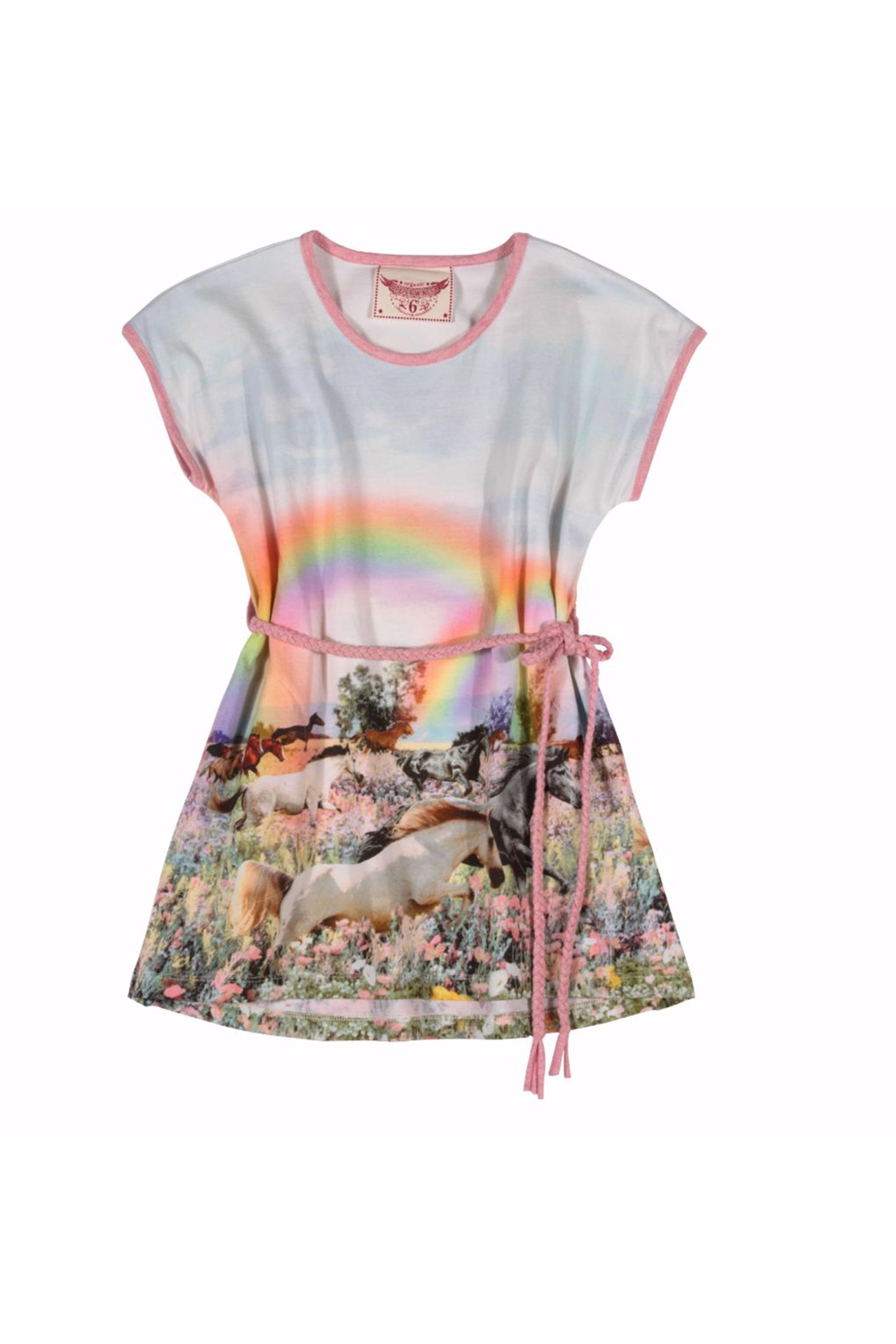 602ec6b711bb6b Paper Wings Rainbow Horses Tee Dress with Plaited Belt - Front Cropped Image