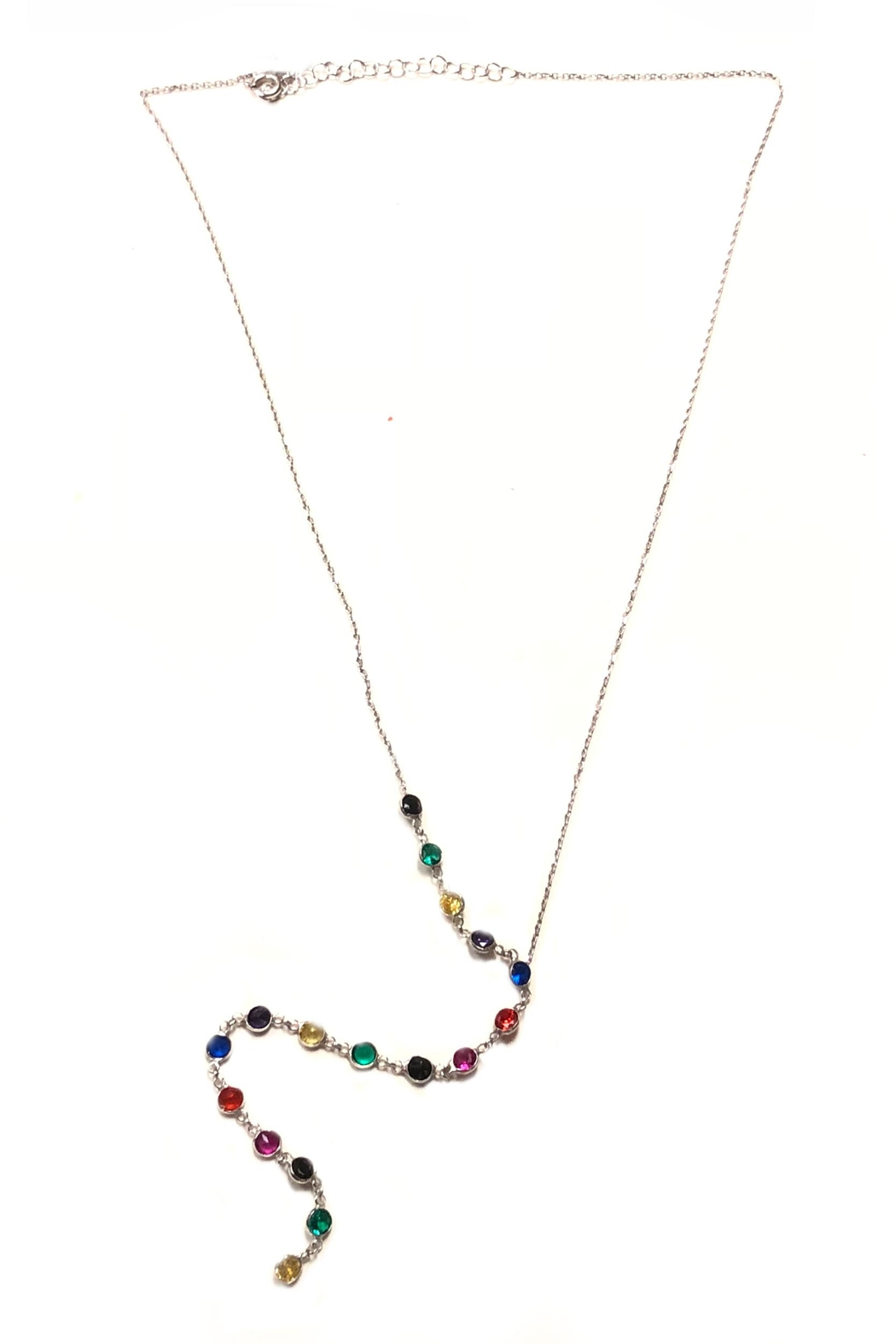Lets Accessorize Rainbow Lariat Necklace - Front Cropped Image