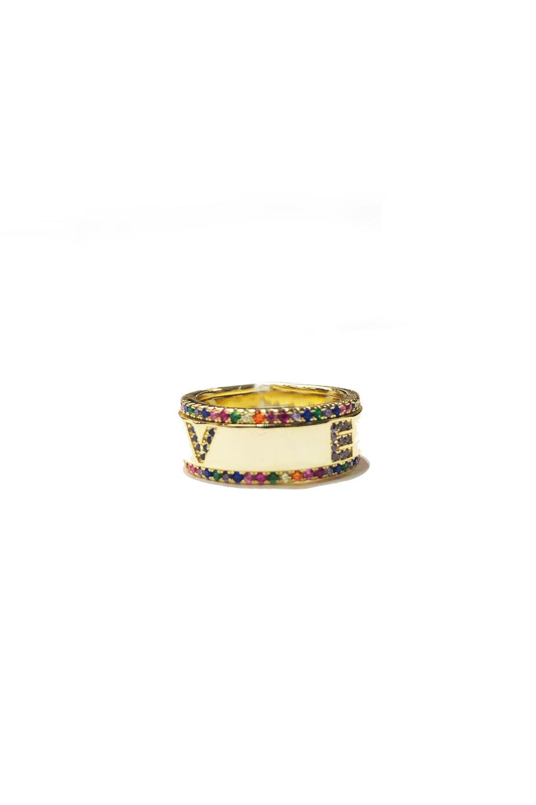 Lets Accessorize Rainbow Love Ring - Front Full Image