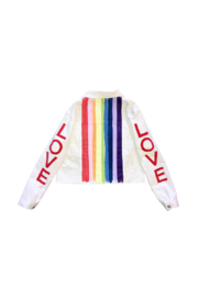 Avery Rowan Art Rainbow Love Sleeve on White Denim Jacket - Product Mini Image