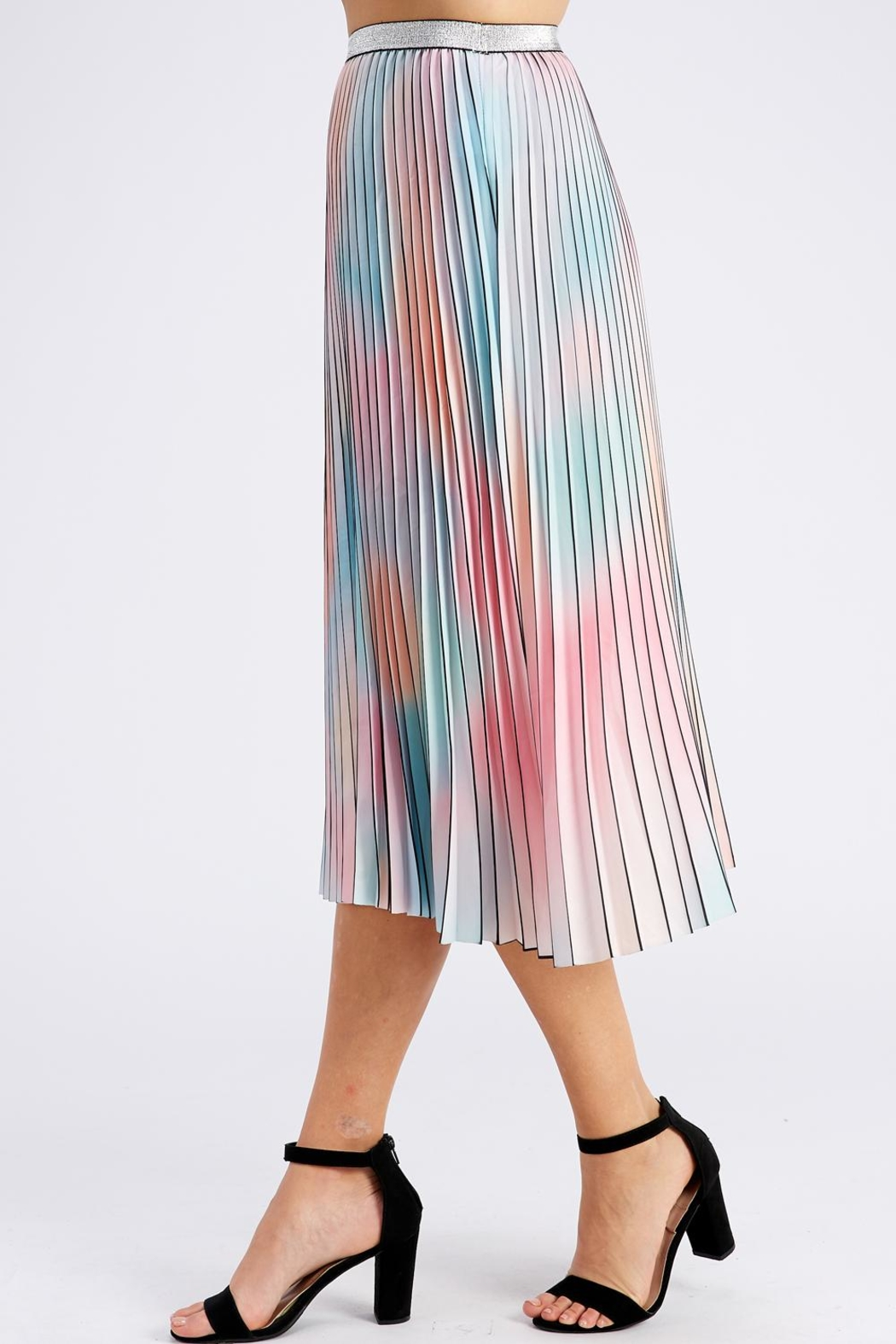On Twelfth Rainbow Pleated Skirt - Side Cropped Image