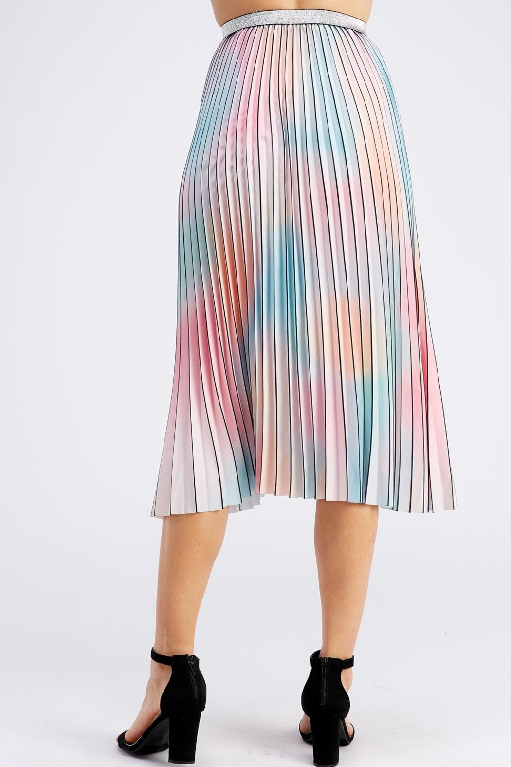 On Twelfth Rainbow Pleated Skirt - Back Cropped Image