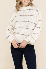 BaeVely Rainbow Pom Pom Stitched Sweater - Product Mini Image