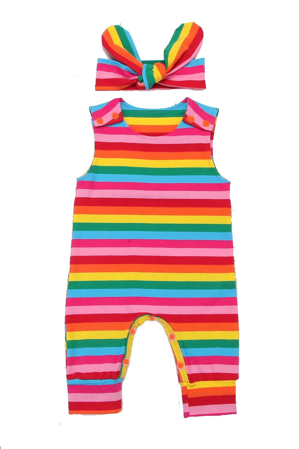 Pickles & Olive's Rainbow Romper - Front Cropped Image