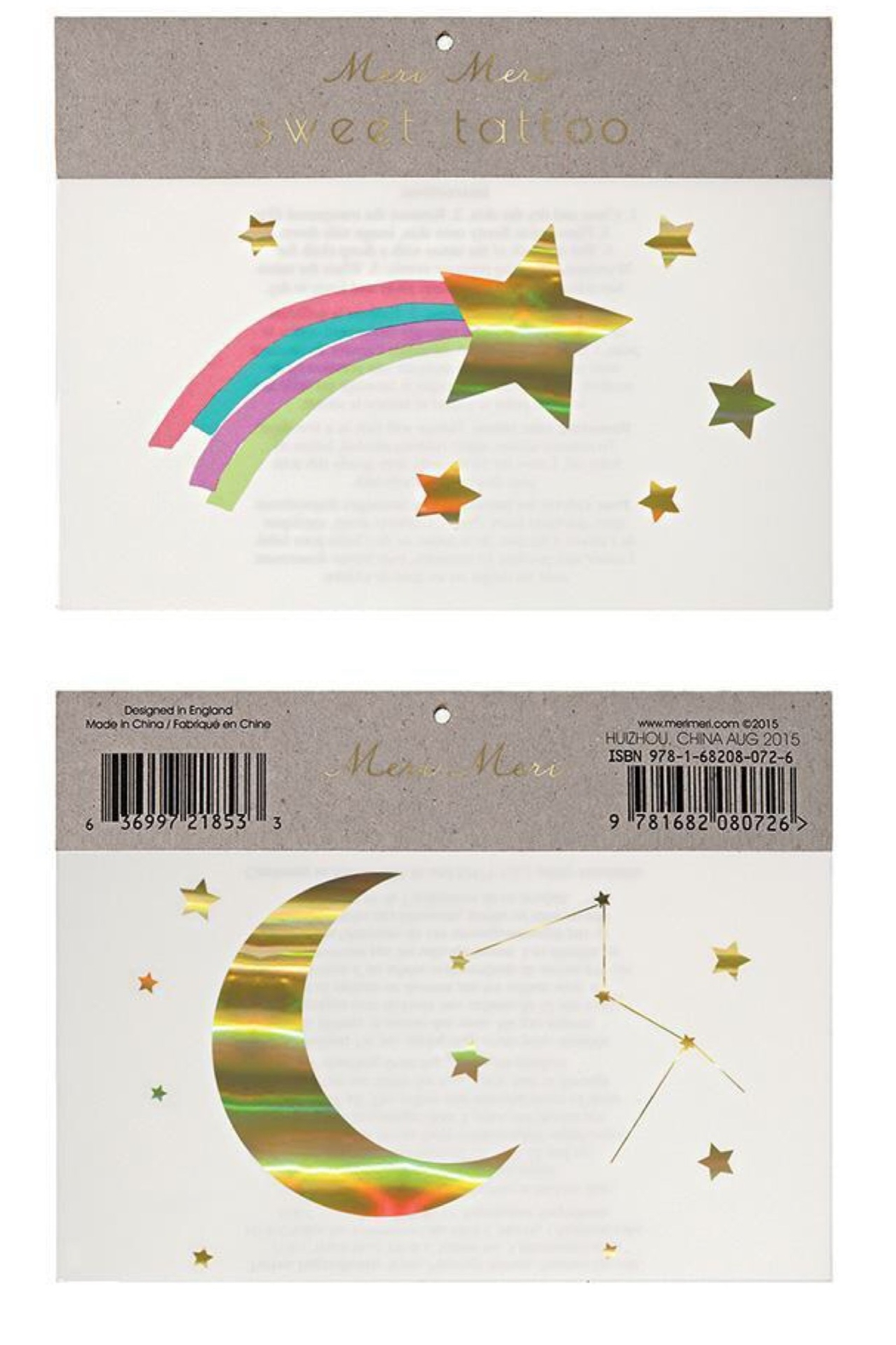 Meri Meri Rainbow Shooting Stars Tattoos - Front Cropped Image
