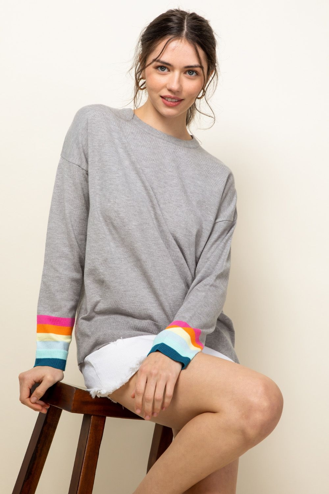 Thml Rainbow Sleeve Knit Top - Side Cropped Image