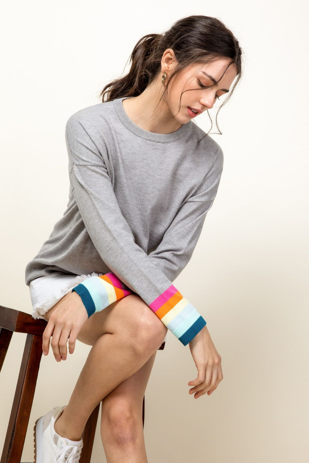 Thml Rainbow Sleeve Knit Top - Front Cropped Image