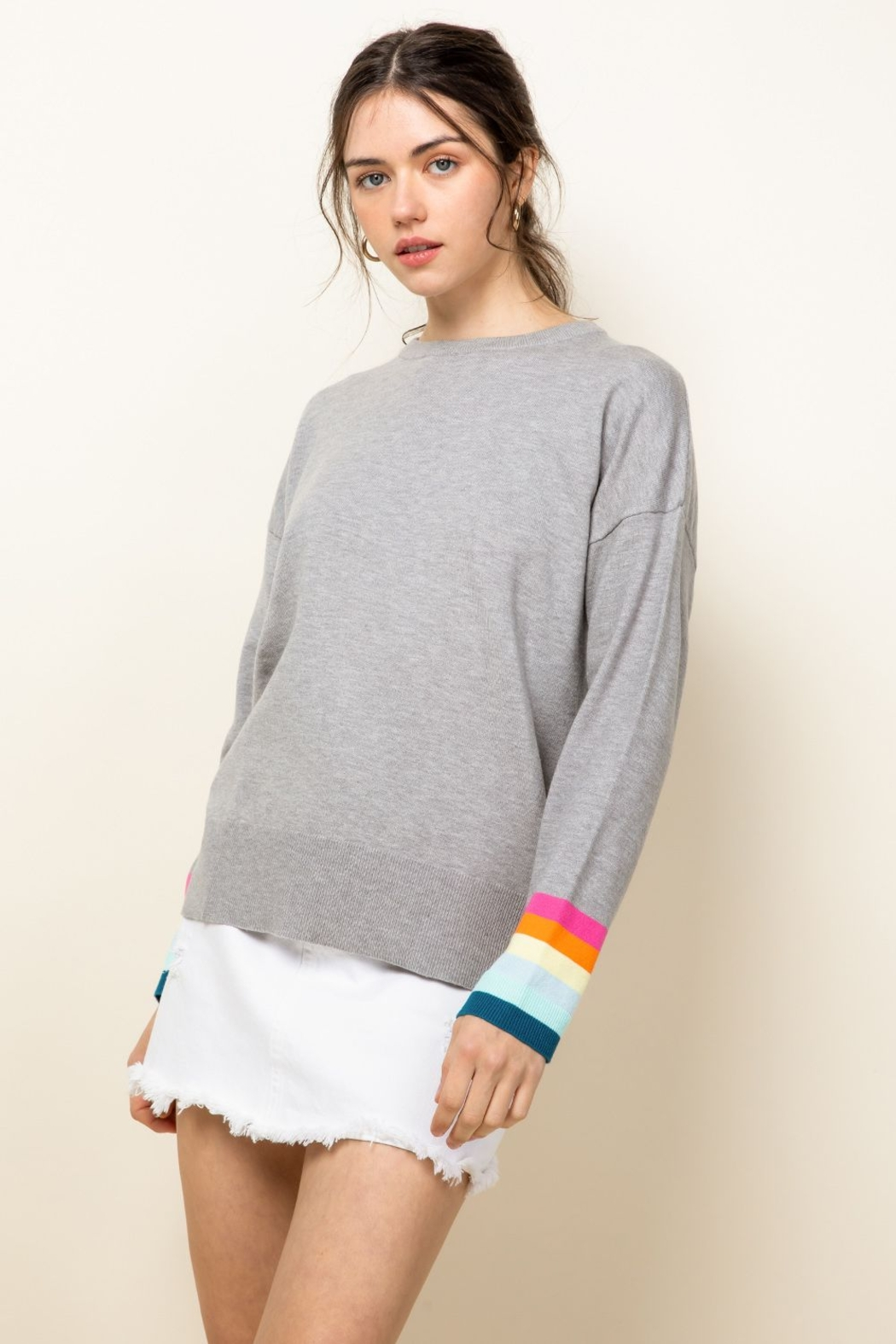 Thml Rainbow Sleeve Knit Top - Front Full Image