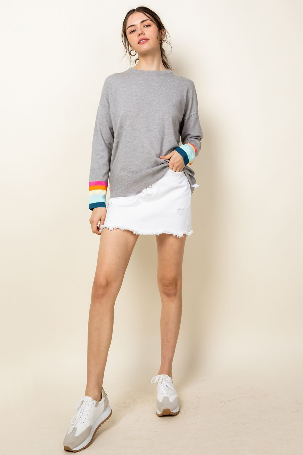 Thml Rainbow Sleeve Knit Top - Back Cropped Image
