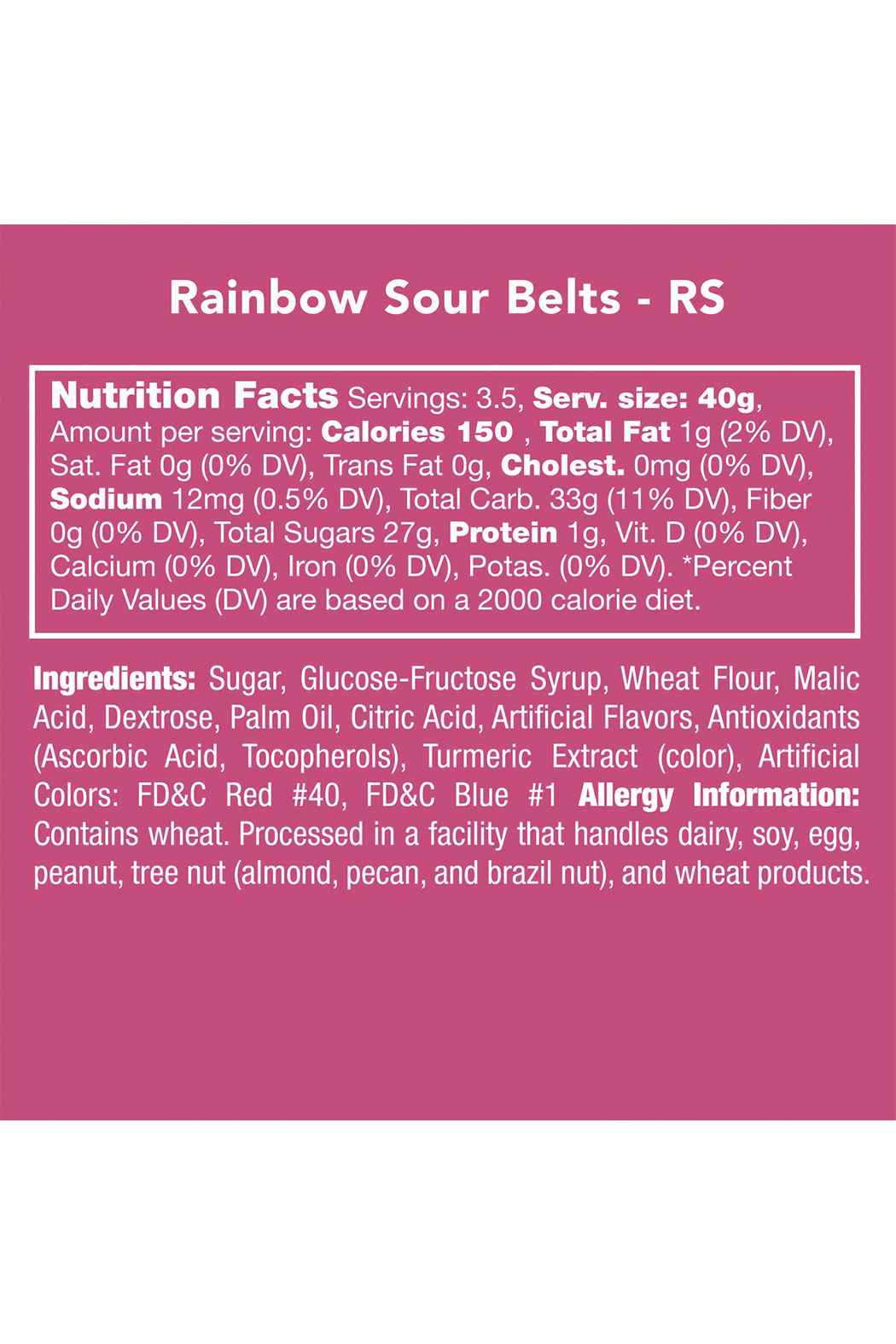 Candy Club Rainbow Sour Belts 5 oz - Side Cropped Image