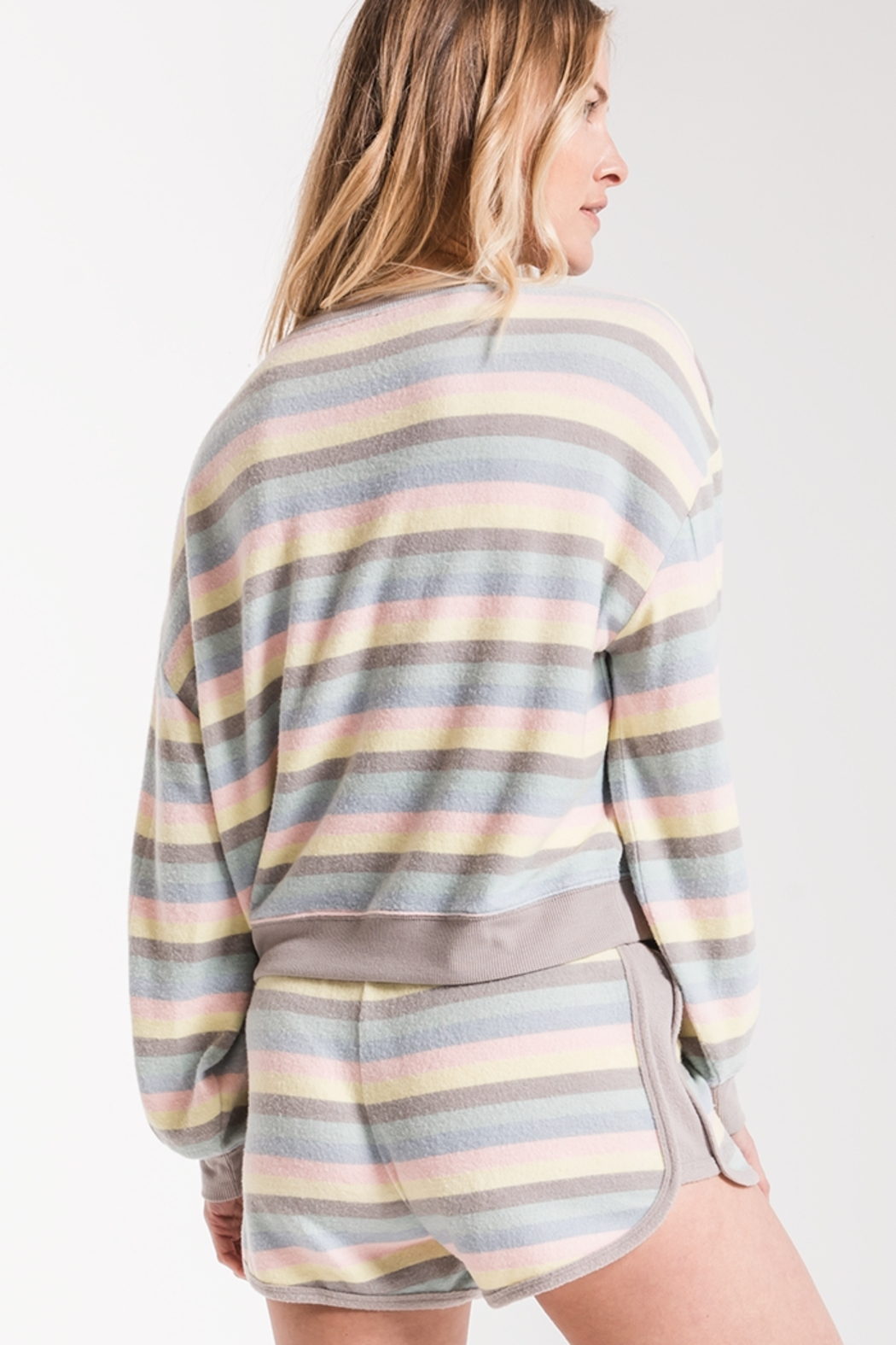z supply Rainbow Stripe Pullover - Side Cropped Image