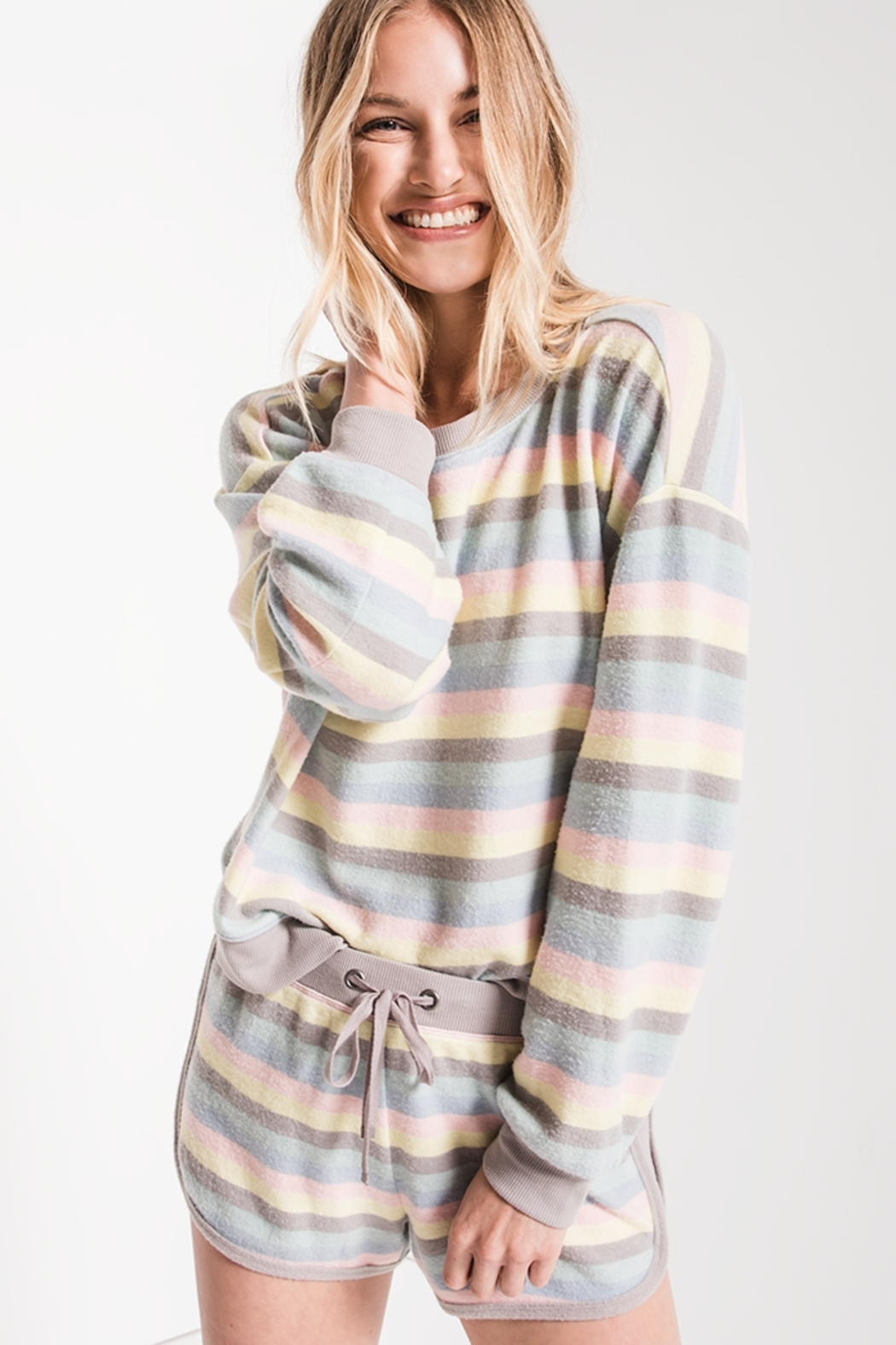 z supply Rainbow Stripe Pullover - Front Cropped Image