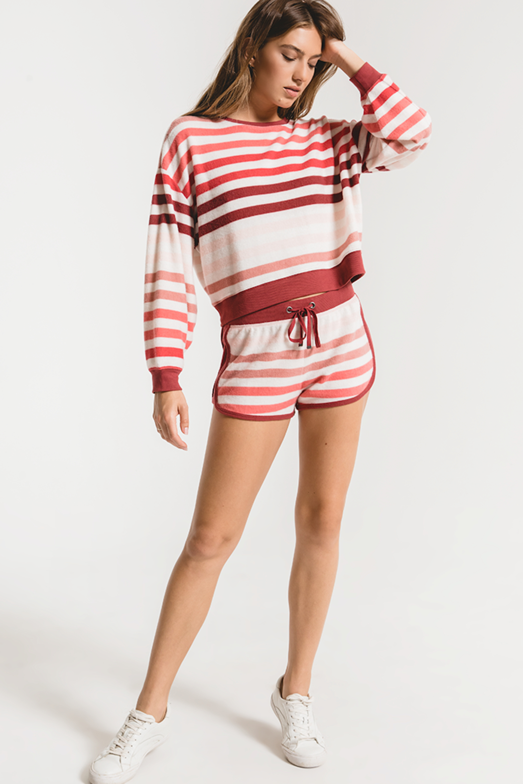 z supply Rainbow Stripe Pullover - Back Cropped Image