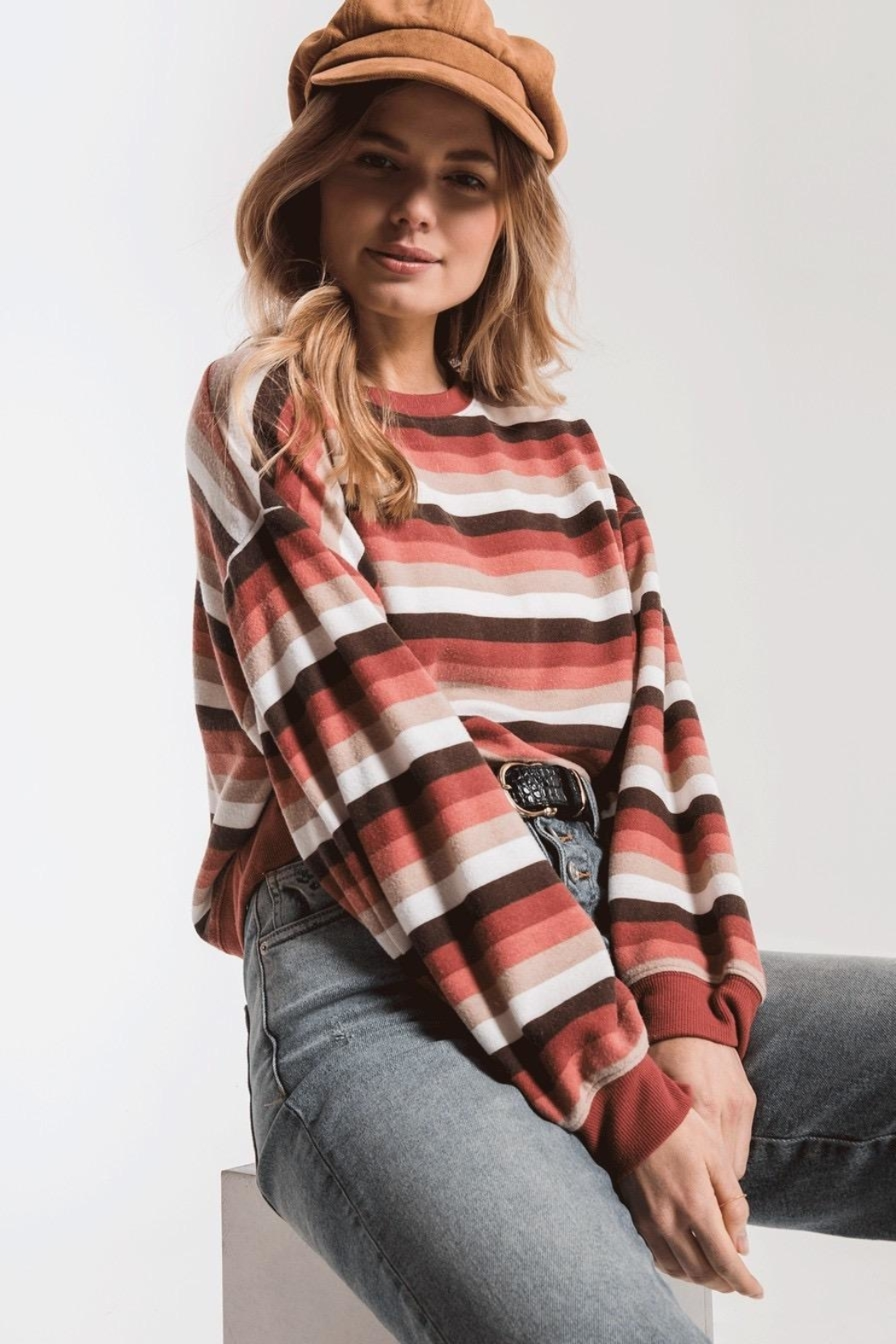 Zsupply Rainbow Stripe Pullover - Front Cropped Image