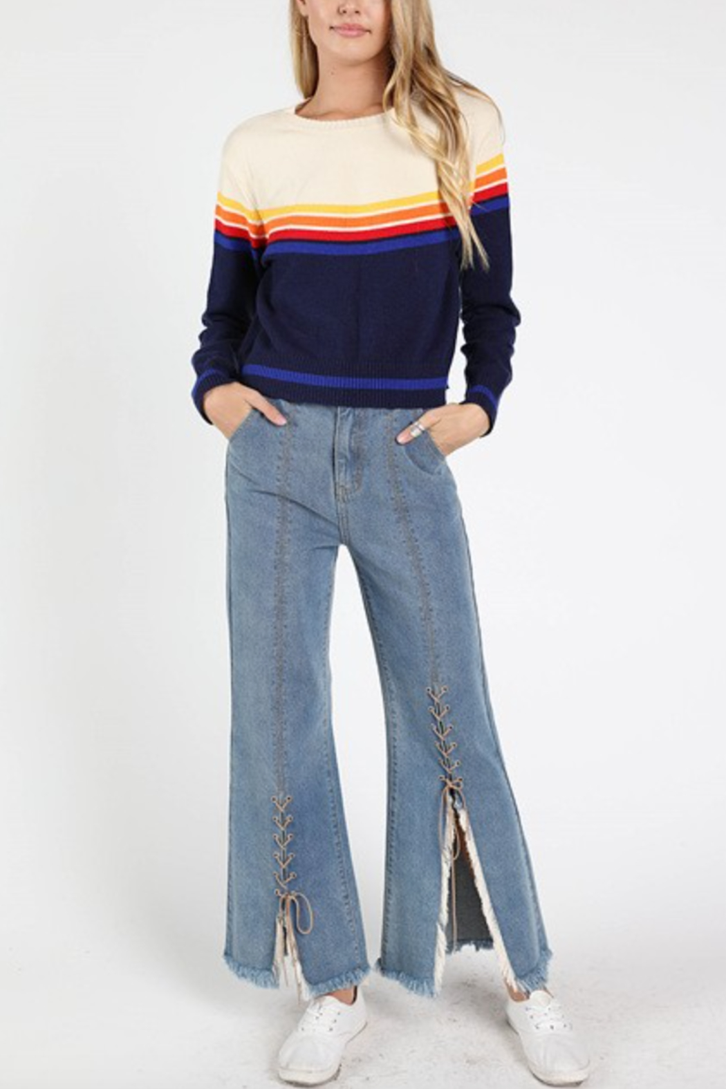 Honey Punch Rainbow Stripe Sweater - Front Cropped Image