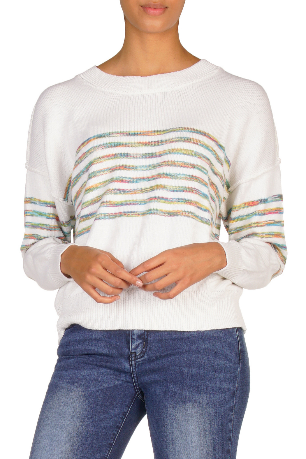 Elan Rainbow Stripe Sweater - Main Image