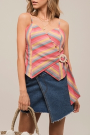 Moon River Rainbow Stripe Top - Product Mini Image