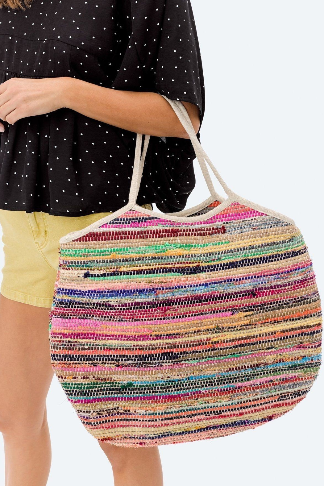 Love Stitch Rainbow-Striped Carpet Tote - Front Full Image