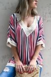 andthewhy Rainbow Striped Crocheted Lace Top - Product Mini Image