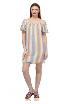 America & Beyond Rainbow Striped off the shoulder dress - Alternate List Image