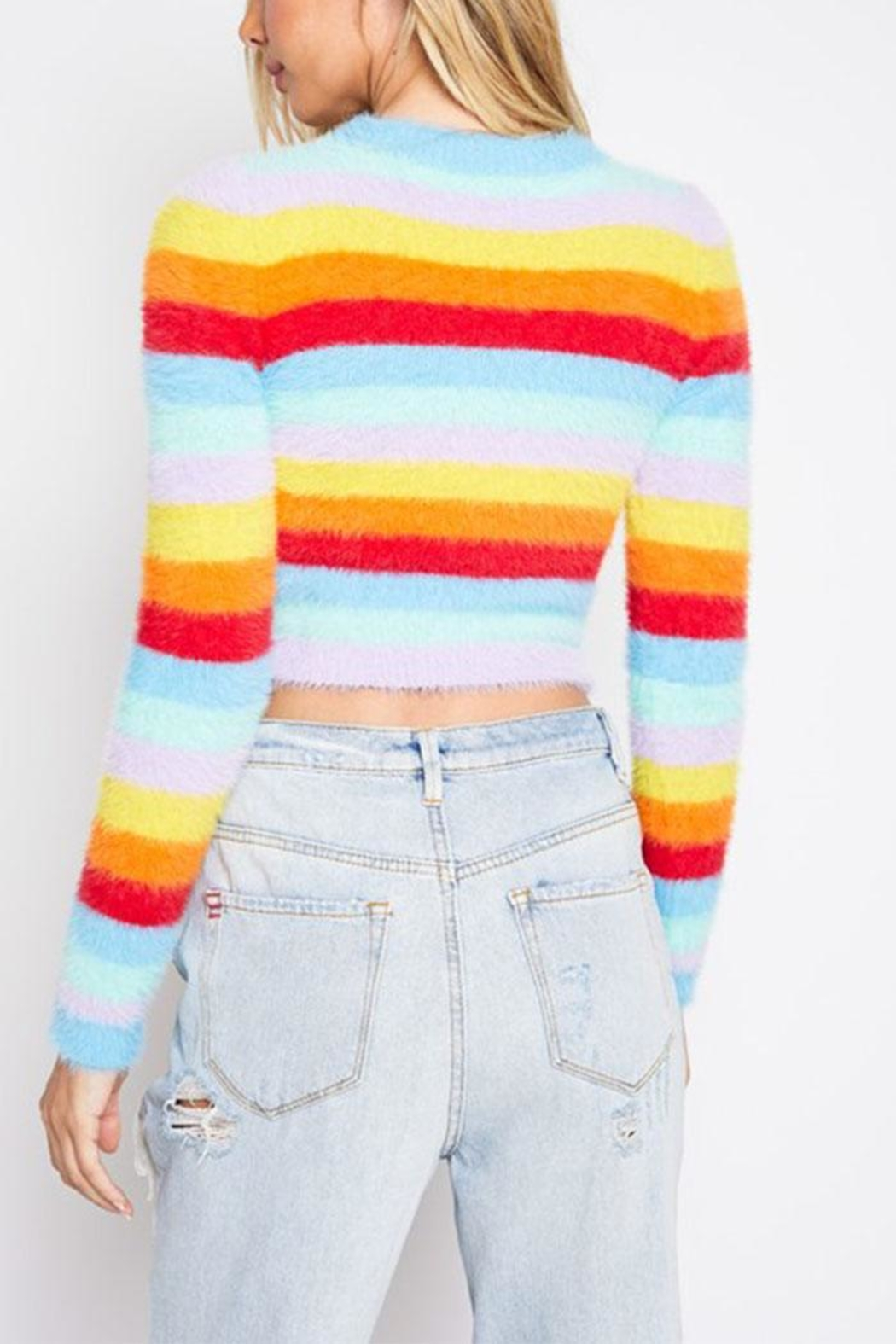 blue blush Rainbow Sweater Top - Side Cropped Image
